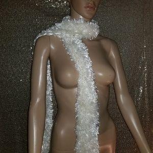 White fluffy scarf